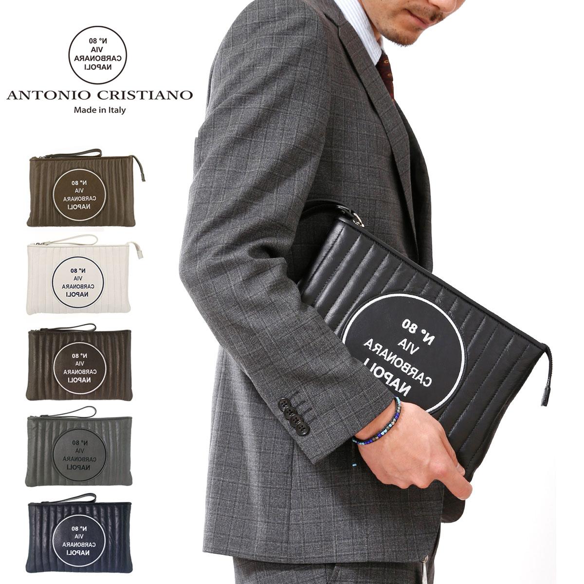 アントニオ クリスティアーノ スマートクラッチ クラッチバッグ メンズ AC150140 ANTONIO CRISTIANO 本革 レザー イタリア製 キルティング ブランド専用保存袋付き[PO5][bef][即日発送]