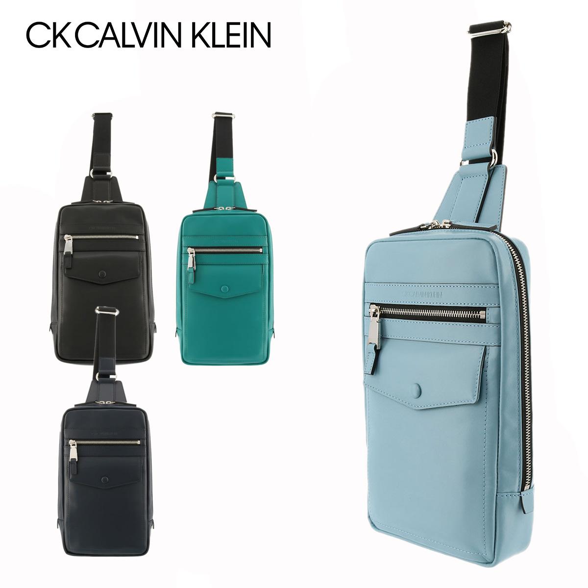 カルバンクライン プラティナム ボディバッグ メンズ 日本製 ティール 821921 Calvin Klein PLATINUM 牛革 本革 レザー[PO5]