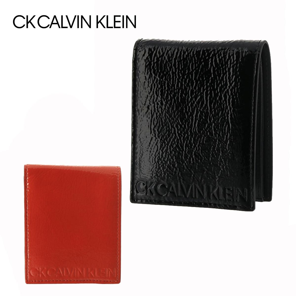 シーケーカルバンクライン 二つ折り財布 BOX型小銭入れ リンクルパテント メンズ 827612 CK CALVIN KLEIN   牛革 本革 レザー ブランド専用BOX付き[PO5][bef]
