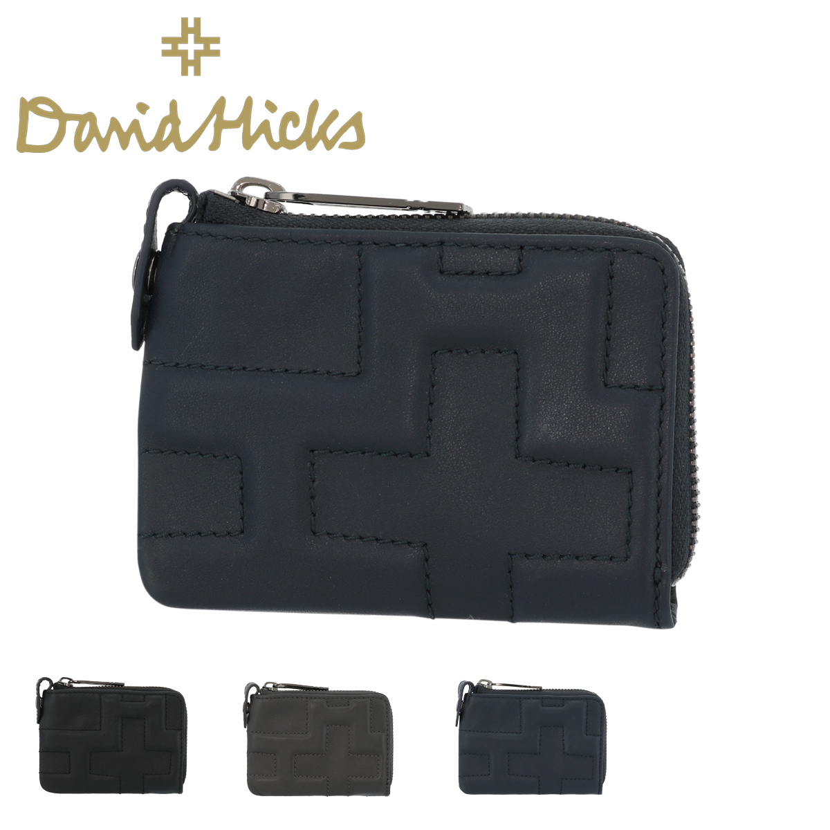 デービッドヒックス 財布 L字ファスナー クロス メンズ DVH-1402 David Hicks   ミニ財布 コインケース 本革 牛革 レザー 薄型[PO5]