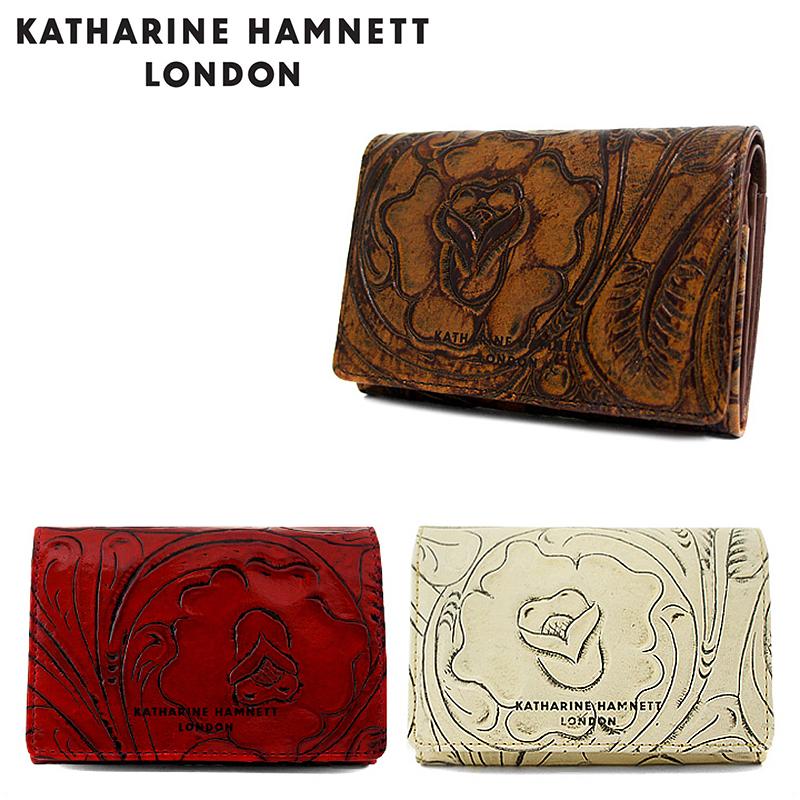 キャサリンハムネット 二つ折り財布 レディース クラフト2 KHP-212 本革 レザー 花柄 型押し KATHARINE HAMNETT ブランド専用BOX付き [PO5][bef]