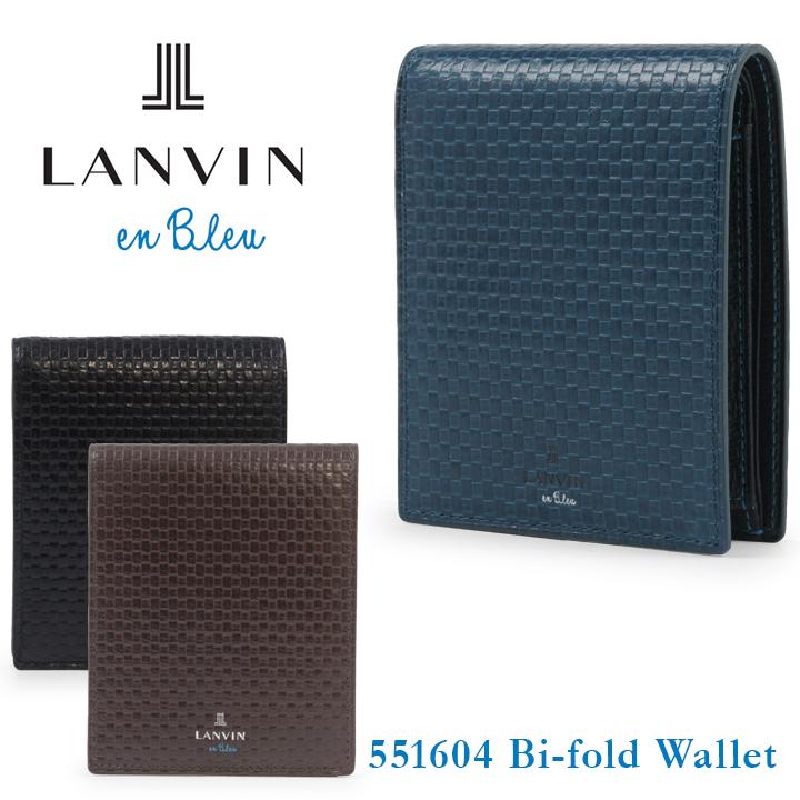 ランバンオンブルー 二つ折り財布 メンズ エスパス 551604 メッシュ型押し 本革 レザー LANVIN en Bleu ブランド専用BOX付き [bef][即日発送]