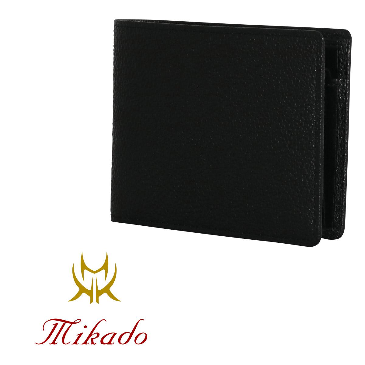Mikado 二つ折り財布 メンズ 黒桟革 日本製 530017 ミカド レザー [PO5][bef][即日発送]