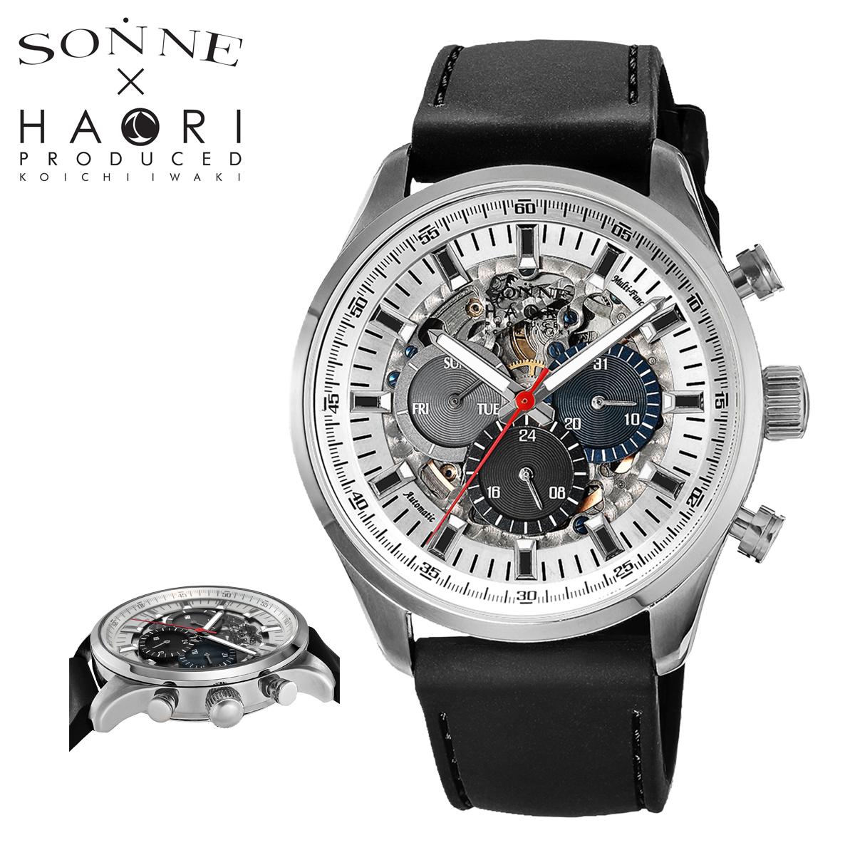 SONNE メンズ H022SS-BK H022 43mm 腕時計 ゾンネ ステンレススチール ラバー[PO10] ミネラルガラス