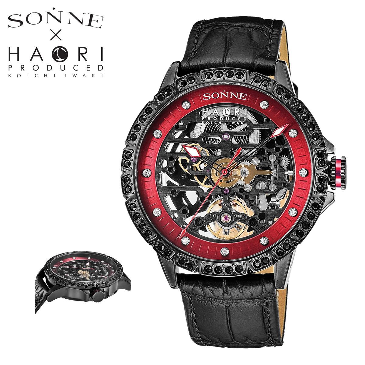 送料無料 WEB限定 ゾンネ 腕時計 44mm H023 H023BKZ-BK メンズ ミネラルガラス PO10 ステンレススチール 本革 通常便なら送料無料 bef SONNE