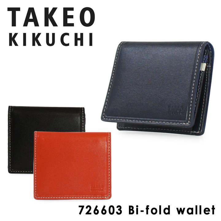 タケオキクチ 財布 二つ折り 薄型 メンズ タイム 726603 TAKEO KIKUCHI ミニ財布 本革 レザー キクチタケオ ブランド専用BOX付き [PO5][bef]