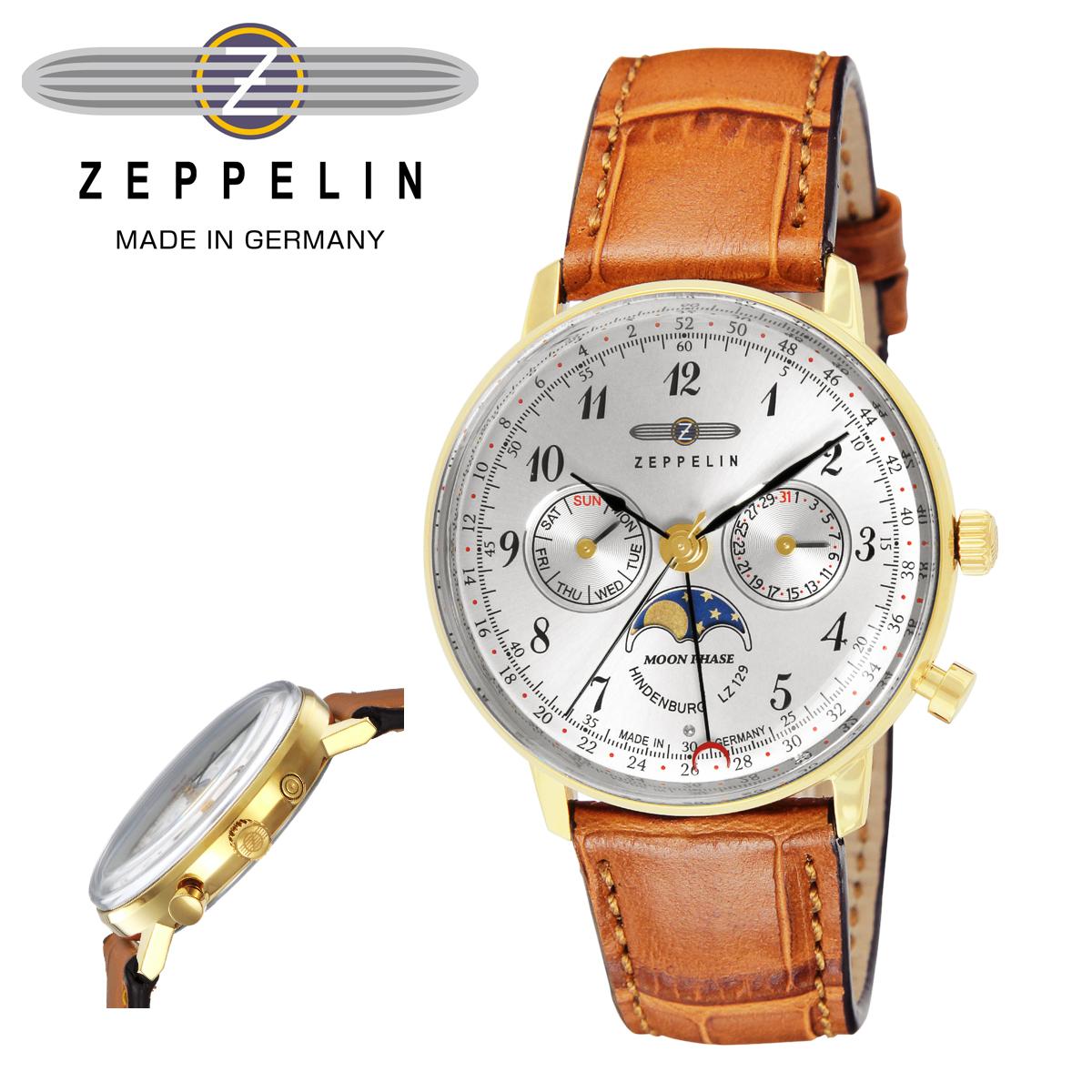 ツェッペリン 腕時計 HINDENBURGmoonphase 1876983 メンズ ZEPPELIN ステンレススチール アクリルガラス 本革