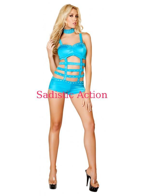 【即納】ROMA 1pc Cage Strapped Monokini w/ Rhinestone Detail - Turquoise 【ROMA (ダンスウェア、衣装、コスチューム、小物)】【EM-DW-3071-TUR】