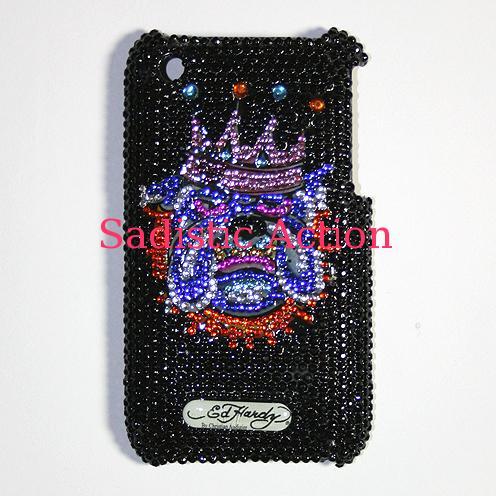 【即納】Ed Hardy iPhone 3G/3GS Crystal Faceplate KING DOG BLACK 【Ed Hardy】【セール商品】【EDH-IC-EH2022-BK】