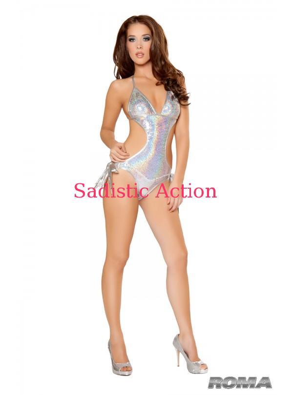 スパンコールタイサイドモノキニ SILVER 即納 ROMA 1pc Tie Side オンラインショッピング 小物 RM-DW-2957-SV ダンスウェア コスチューム バースデー 記念日 ギフト 贈物 お勧め 通販 衣装 Sequin Monokini