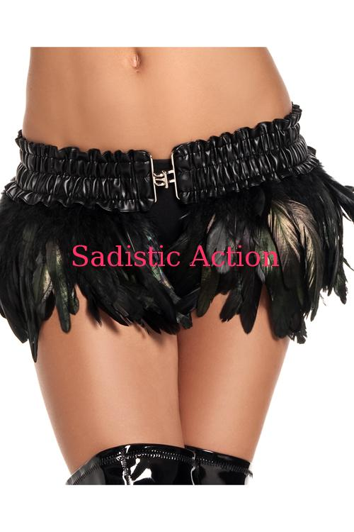 【即納】BE WICKED! Feather Mini Skirt BK 【BE WICKED!】【BE-DW-BW1000-BK】