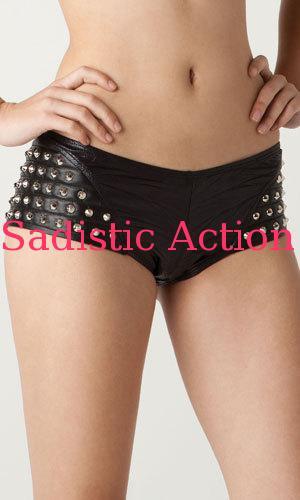 【即納】L.A.Roxx low rise Glam boy shorts with Leather and stud hip details 【L.A.Roxx (ダンスウェア、レザー、ボンテージ、衣装)】【LR-SH-32008-BK/SV】