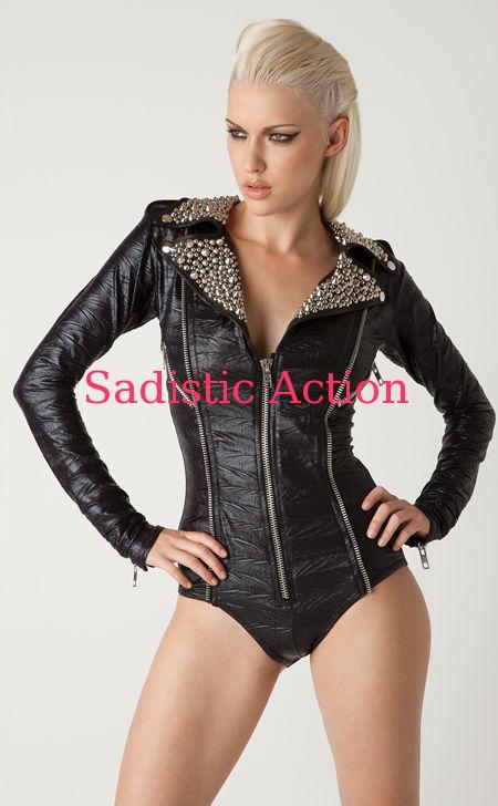【即納】L.A.Roxx Black Moto romper bodysuit with Silver studs on leather collar 【L.A.Roxx (ダンスウェア、レザー、ボンテージ、衣装)】【LR-BS-12002-BK/SV】