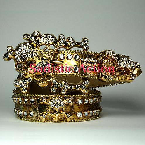 【即納】b.b.simon GOLD/GOLDクロコ型押/スカルバックルスカルBELT GL/CL 【b.b.simon】【BB-218-D15-18-GL/CL】