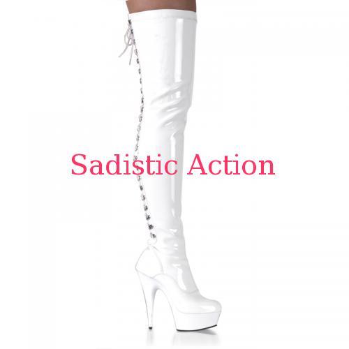 【即納】PLEASER Platform Boots Thigh High WH 【Pleaser (ブーツ、サンダル、シューズ)】【PL-BO- DEL3063/W/M】