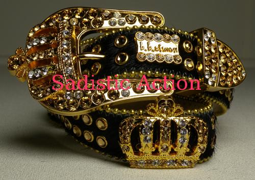 【即納】b.b.simon BLACKハラコ/CROWN BELT 【b.b.simon】【BB-68-N1-18/27-GL】