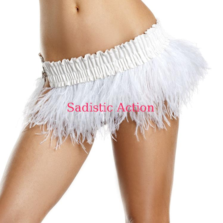 【即納】BE WICKED!Ostrich Feather Skirt WH 【BE WICKED!】【BE-DW-BW1500-WH】