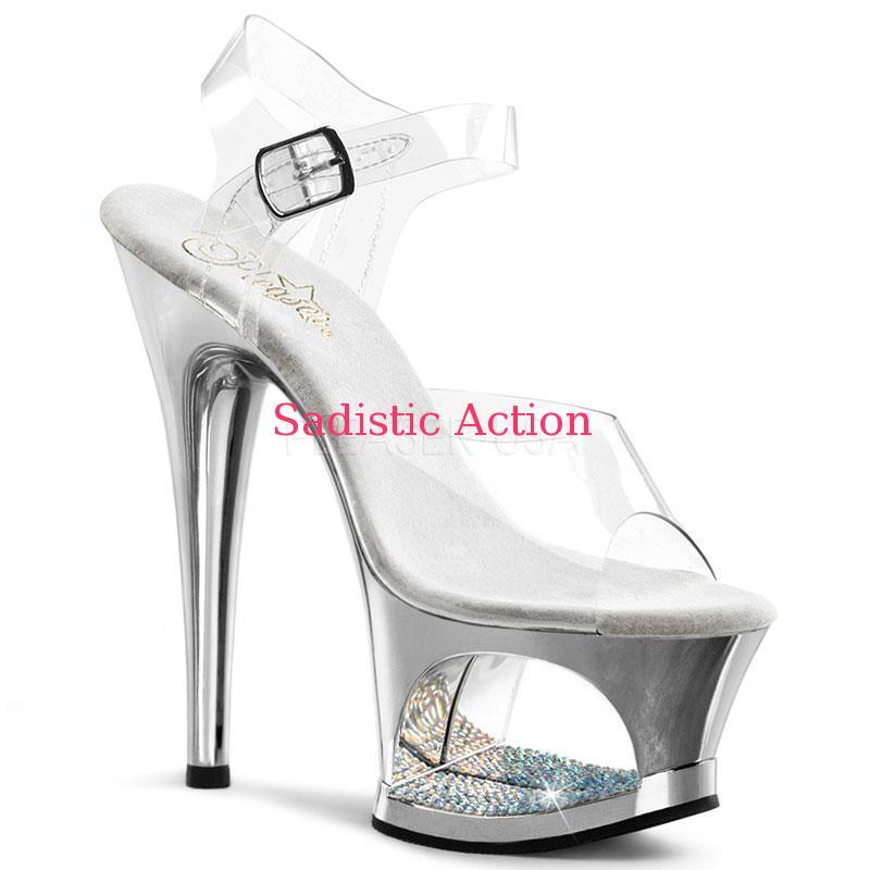 【即納】PLEASER Ankle Strap Sandal Featuring RS Detail In the PF 【Pleaser (ブーツ、サンダル、シューズ)】【PL-SAN-MOON-708DMCH-SV】