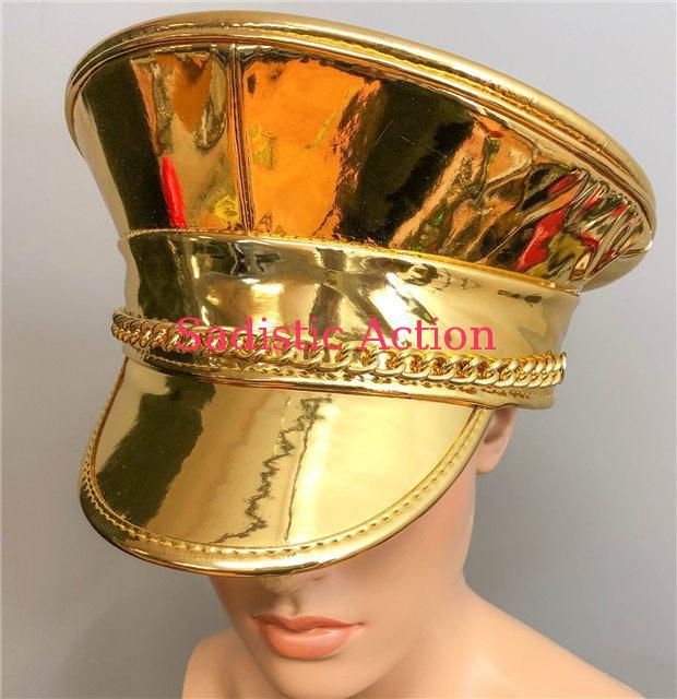 【即納】FUNK PLUS METALLIC GOLD HAT WITH CHAIN 【コスチュームアクセサリー】【ハット、帽子】【FUNK PLUS(レザーアクセサリー、レザーマスク、ハーネス、ポリスハット等)】【FP-HT255GOLD】