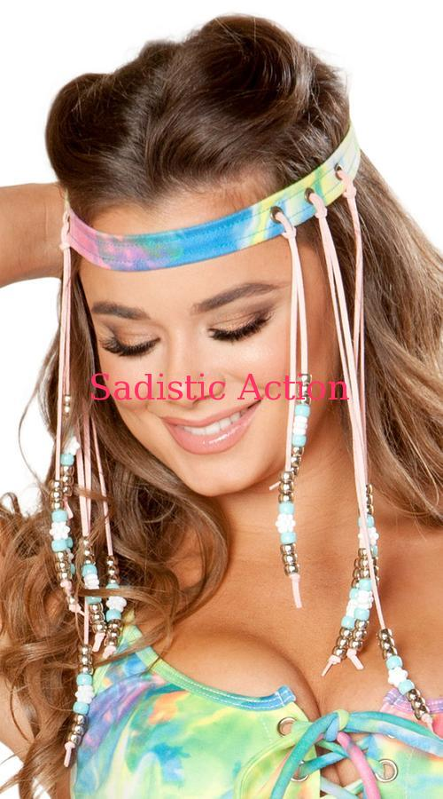 【即納】J.Valentine Beaded Tie Dye Headband 【コスチュームアクセサリー】【J Valentine(ダンスウェア、衣装、コスチューム、小物)】【マスク、仮面、ヘッドピース】【JV-ACC-FF199-TDY】