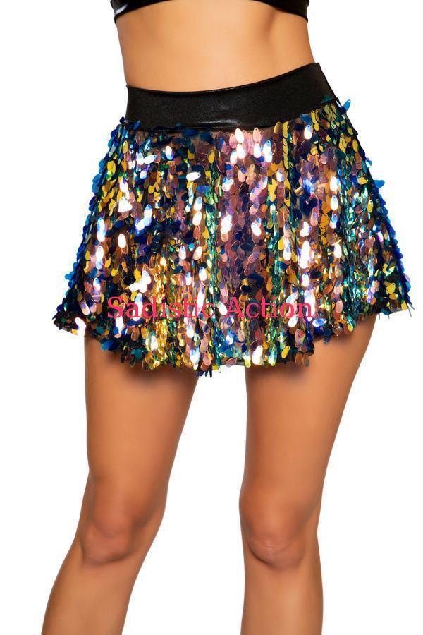 【即納】ROMA Tear Drop Sequin Skirt 【ROMA (ダンスウェア、衣装、コスチューム、小物)】【ボトム・スカート】【RM-DW-3758-BK】