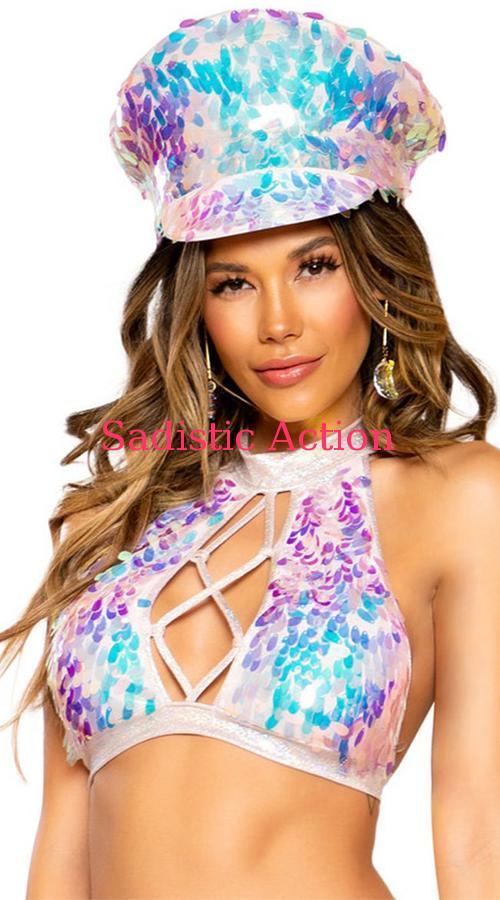 【即納】ROMA Tear Drop Sequin Hat 【ROMA (ダンスウェア、衣装、コスチューム、小物)】【コスチュームアクセサリー】【ハット、帽子】【RM-ACC-3668-B.PI】