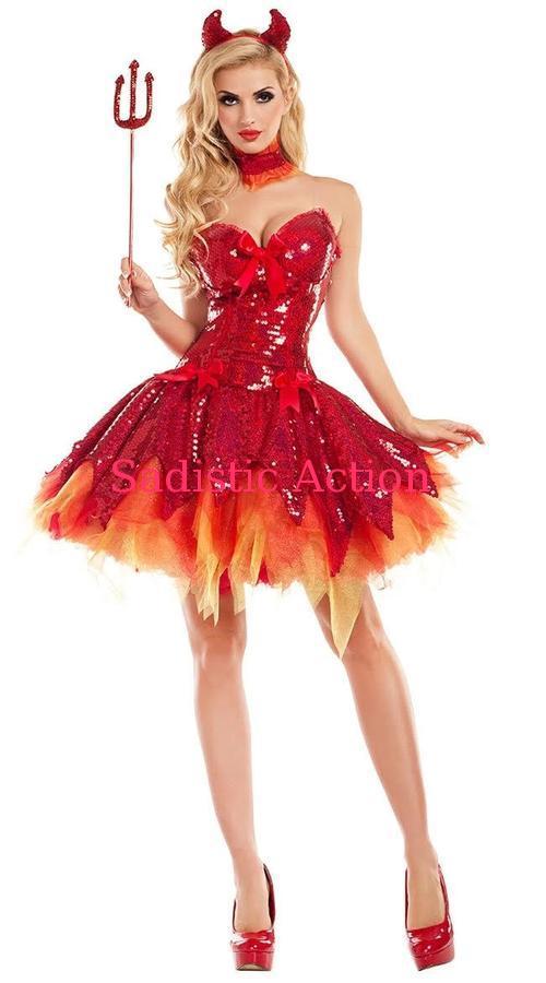 PARTY KING Hellfire 直営店 Darling Devil Costume スパンコールレッドデビルコスチューム 即納 日本産 ハロウィンコスチューム コスチューム 衣装 PK-CO-PK726 コスチュームアクセサリー