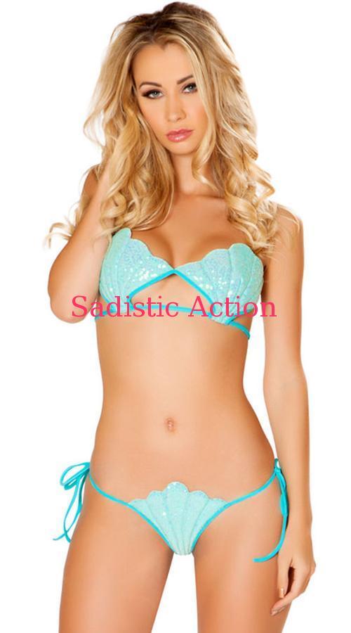 【即納】ROMA Sequin Mermaid Bikini Set 【ROMA (ダンスウェア、衣装、コスチューム、小物)】【ハロウィンコスチューム】【ダンスウェアセット】【RM-DW-3470-BL】