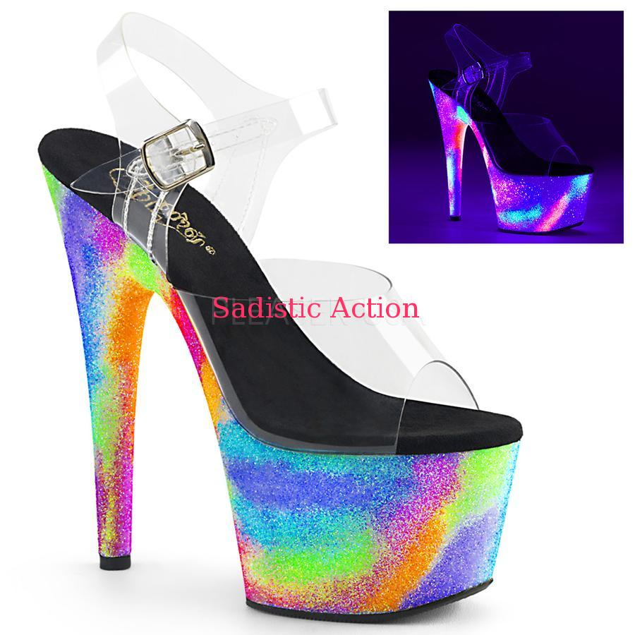 【即納】Pleaser Platform Sandal Featuring Blacklight Reactive Galaxy Effect Platform 【Pleaser (ブーツ、サンダル、シューズ)】【サンダル】【PL-SAN-ADO708GXY/C/NGXY】