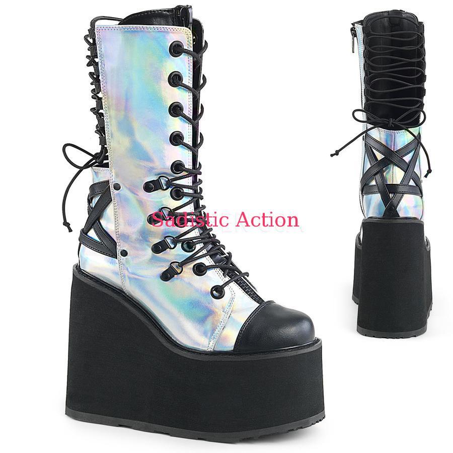 【即納】Demonia latform Wedge Double D-Ring Double D-Ring Lace-Up Calf Front Mid Calf Boot【コスチュームアクセサリー】【コスチュームシューズ】【ブーツ】【DEMONIA(サンダル・フェスティバルシューズ・ブーツ)】【DM-BO-SWI120/SHG-BVL】, カワバムラ:8746708c --- officewill.xsrv.jp