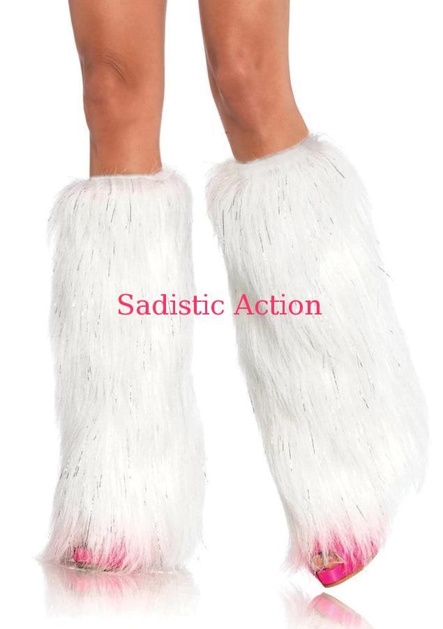【即納】Leg Avenue Furry Lurex Leg Warmers 【Leg Avenue (ストッキング、ランジェリー、衣装、コスチューム、小物)】【コスチュームアクセサリー】【レッグウォーマー】【LEG-ACC-3923-WH/SV】