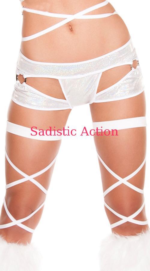 【即納】ROMA Metallic Cut-Out Shorts 【ROMA (ダンスウェア、衣装、コスチューム、小物)】【RM-DW-SH3185-WH】