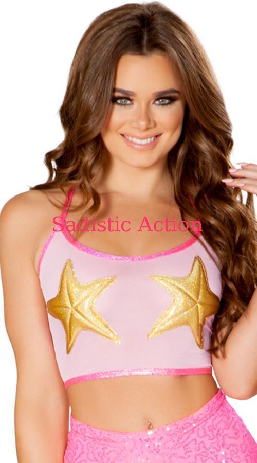 【即納】J.Vlentine Mesh Starfish Crop Top 【J Valentine(ダンスウェア、衣装、コスチューム、小物)】【トップス】【JV-DW-FF492-PI/STAR】