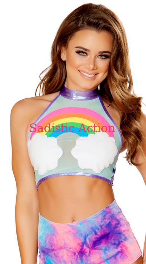 【即納】J.Valentine Rainbow/Shimmer Halter Top 【J Valentine(ダンスウェア、衣装、コスチューム、小物)】【トップス】【JV-DW-FF730】