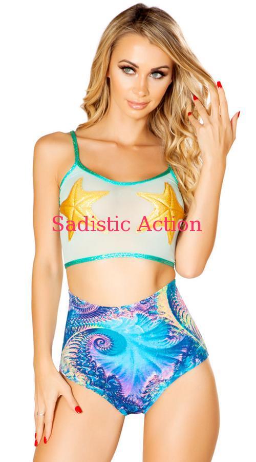 【即納】J.Vlentine Mesh Starfish Crop Top 【J Valentine(ダンスウェア、衣装、コスチューム、小物)】【トップス】【JV-DW-FF492-AQUA/STAR】