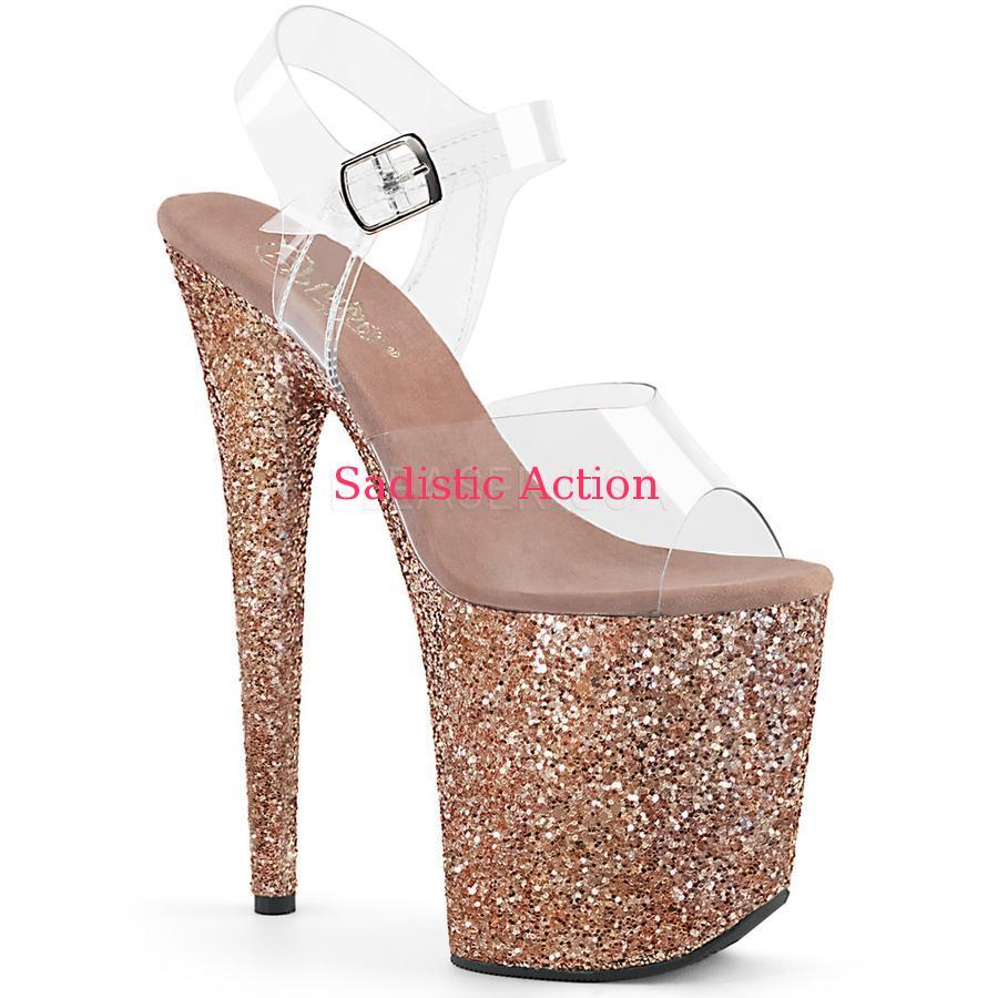 【即納】Pleaser Platform Ankle Strap Multi Glitter Platform Sandal 【Pleaser (ブーツ、サンダル、シューズ)】【コスチュームアクセサリー】【サンダル】【PL-SAN-FLAM808LG/C/ROGLDHGG】