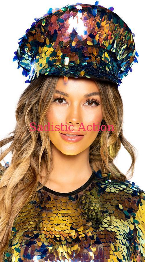 【即納】ROMA Tear Drop Sequin Hat 【ROMA (ダンスウェア、衣装、コスチューム、小物)】【コスチュームアクセサリー】【ハット、帽子】【RM-ACC-3668-BK】