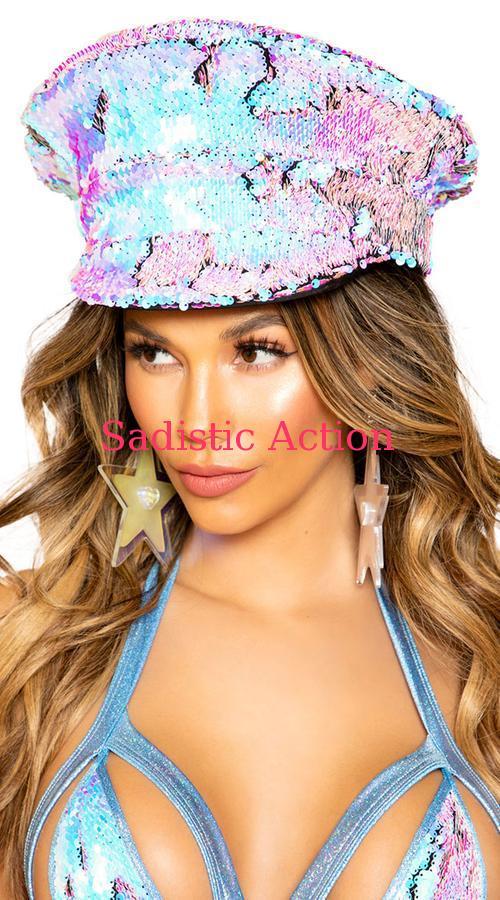 【即納】ROMA Two-Tone Sequin Hat 【ROMA (ダンスウェア、衣装、コスチューム、小物)】【コスチュームアクセサリー】【ハット、帽子】【RM-ACC-3676】