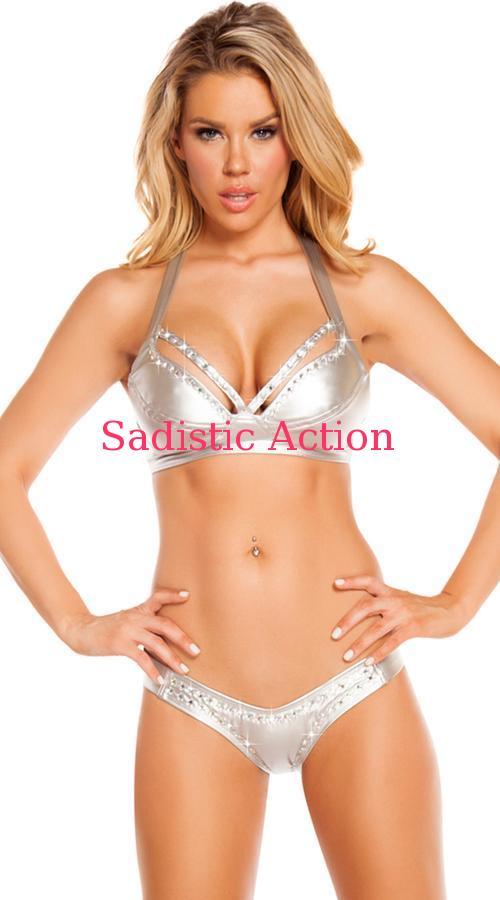 【即納】ROMA Rhinestone Studded Bikini Set 【ROMA (ダンスウェア、衣装、コスチューム、小物)】【RM-DW-3216-SV】