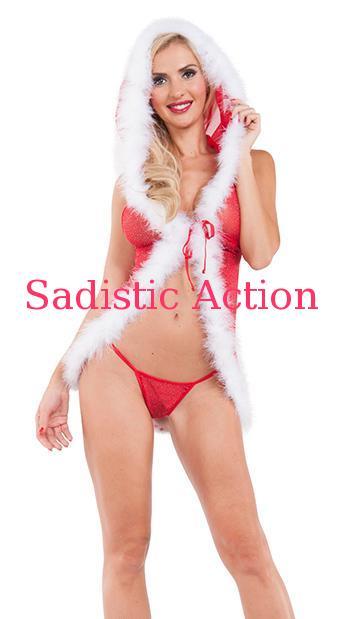 【即納】RAVEWARE Christmas Tease Glitter Mesh Hooded Chemise 【クリスマスコスチューム】【クリスマス・ヴァレンタインランジェリー】【RAVEWARE(ダンスウェア、コスチューム、ランジェリー、衣装)】【RW-CR-XT7035-RE】