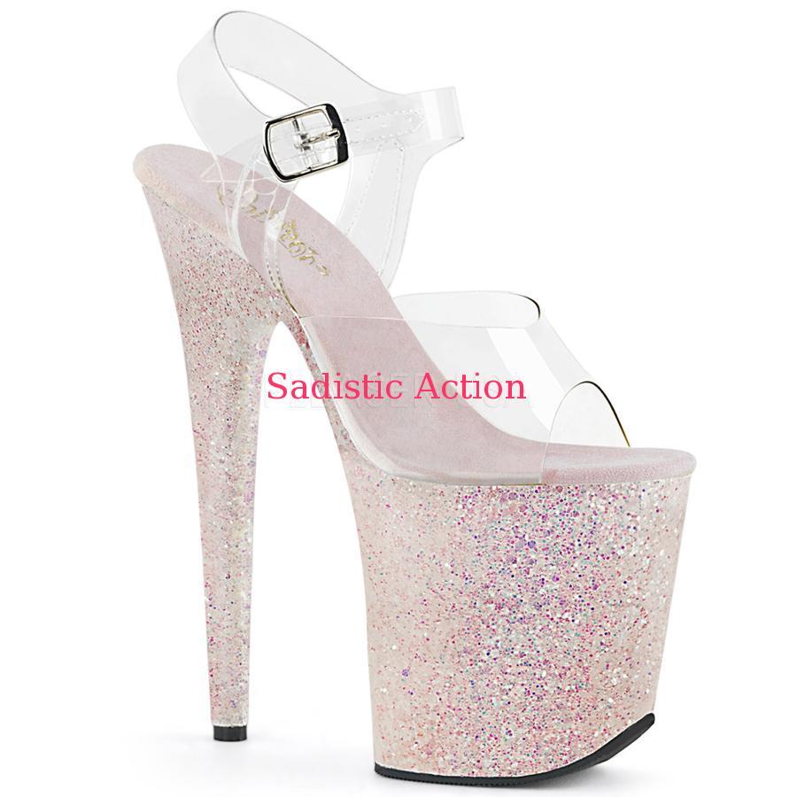 【即納】Pleaser Platform Ankle Strap Multi Glitter Platform Sandal 【Pleaser (ブーツ、サンダル、シューズ)】【コスチュームアクセサリー】【サンダル】【PL-SAN-FLAM808LG/C/OPG】