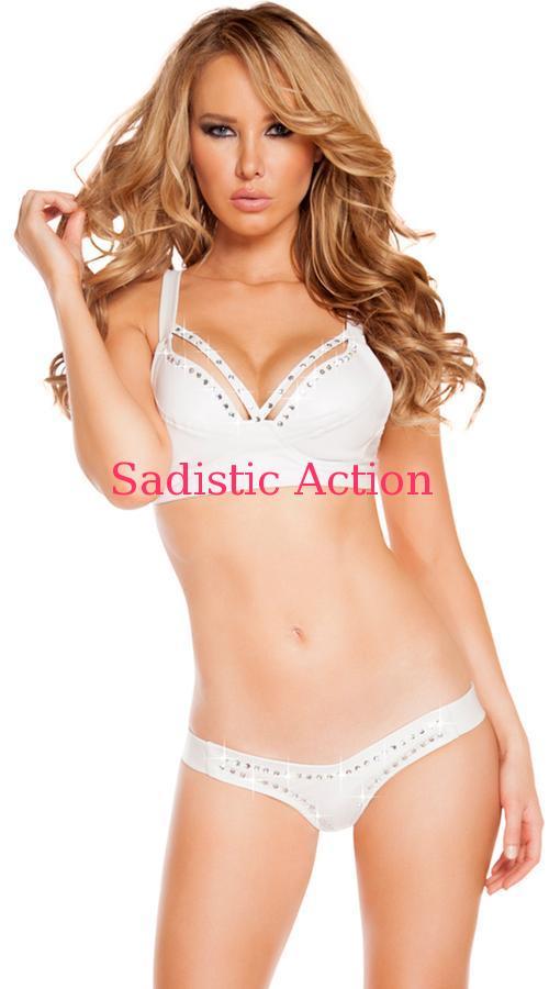 【即納】ROMA Rhinestone Studded Bikini Set 【ROMA (ダンスウェア、衣装、コスチューム、小物)】【RM-DW-3216-WH】
