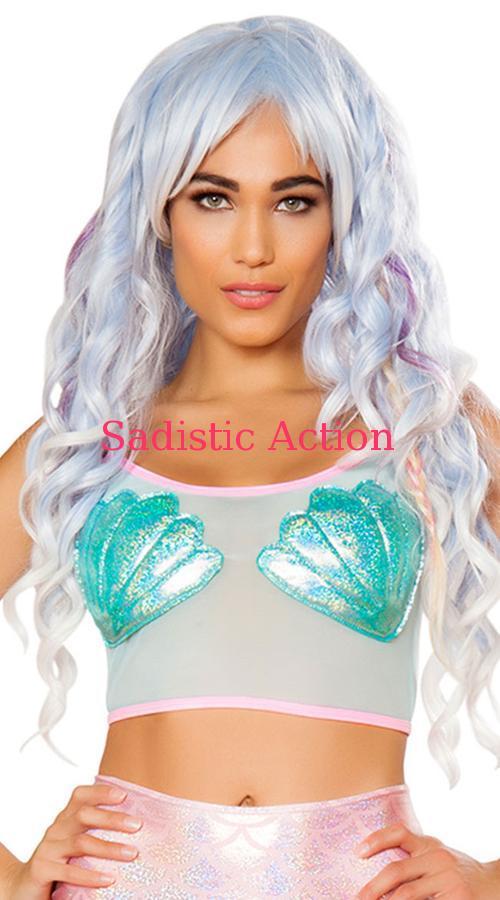 【即納】 J Valentine Mesh Mermaid Crop Top 【J Valentine(ダンスウェア、衣装、コスチューム、小物)】【トップス】【JV-DW-FF492-AQ/PI】