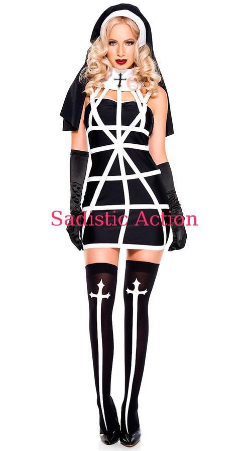 【即納】MUSUC LEGS Religious Sister Costume 【ハロウィンコスチューム】【MUSIC LEGS (ストッキング、ランジェリー、コスチューム)】【ML-CO-70728】