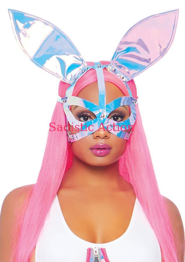 【即納】Leg Avenue Holographic Bunny Ear Mask 【Leg Avenue (ストッキング、ランジェリー、衣装、コスチューム、小物)】【ハロウィンコスチューム】【コスチュームアクセサリー】【マスク、仮面、ヘッドピース】【LEG-ACC-3749】