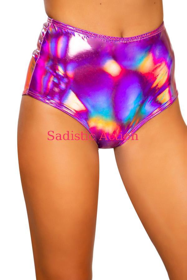 【即納】ROMA Iridescent High-Waisted Shorts with Zipper Closure 【ROMA (ダンスウェア、衣装、コスチューム、小物)】【ボトム・スカート】【RM-DW-3704-PI】