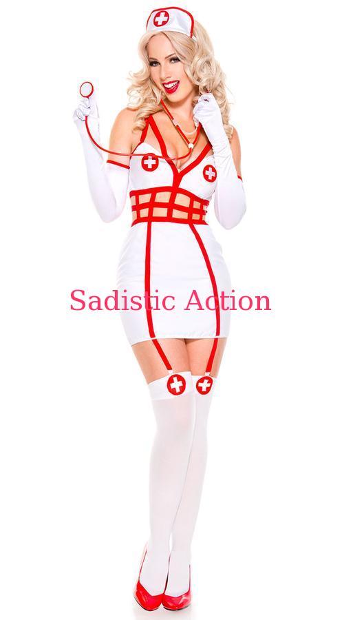 【即納】MUSIC LEGS Sexy Caged Nurse Costume 【ハロウィンコスチューム】【MUSIC LEGS (ストッキング、ランジェリー、コスチューム)】【ML-CO-70712】