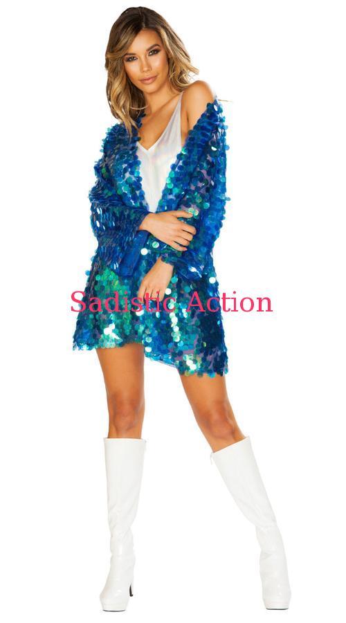 【即納】ROMA 1pc Iridescent Sequin Robe 【ROMA (ダンスウェア、衣装、コスチューム、小物)】【トップス】【RM-DW-3666】