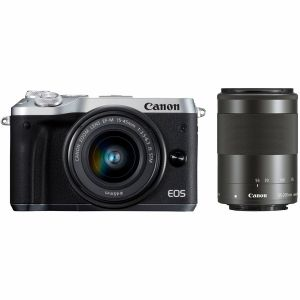 【エントリーでポイント5倍】キヤノン(Canon) ミラーレス一眼 EOS M6 ダブルズームレンズキット シルバー