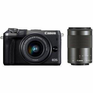 【エントリーでポイント5倍】キヤノン(Canon) ミラーレス一眼 EOS M6 ダブルズームレンズキット ブラック